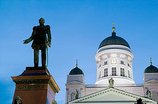 Cathedral and statue of Alexander II on Senate Square in old town at night. Helsinki. Finland : Stock Photo