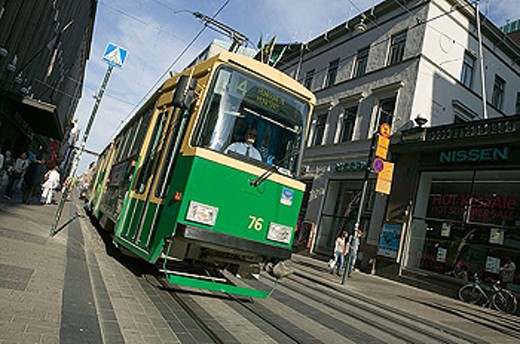 Stock Photo: 1566-338208 Tramway on Aleksanterinkatu main shopping street. Helsinki. Finland