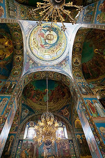 Interior of the Church of the Savior on Spilled Blood. St Petersburg. Russia : Stock Photo
