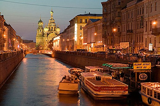 Stock Photo: 1566-339015 Griboedova Canal and Church of the Savior on Spilled Blood at night. St Petersburg. Russia