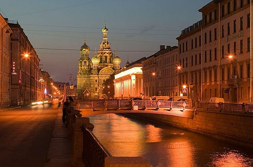Stock Photo: 1566-339016 Griboedova Canal and Church of the Savior on Spilled Blood at night. St Petersburg. Russia