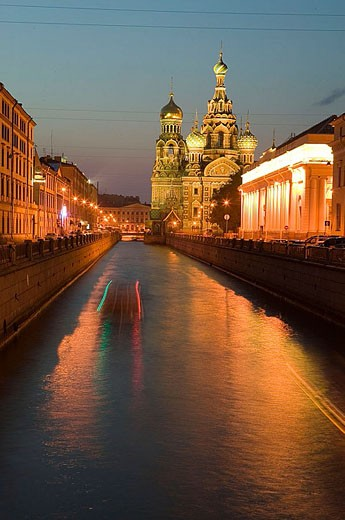 Stock Photo: 1566-339017 Griboedova Canal and Church of the Savior on Spilled Blood at night. St Petersburg. Russia