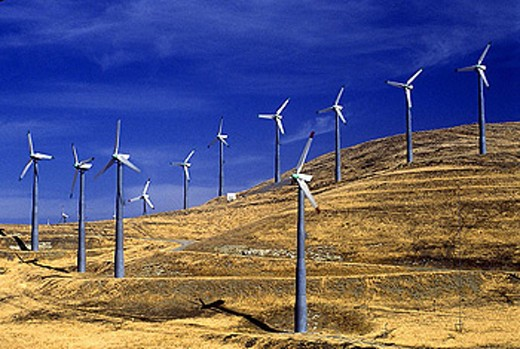 Stock Photo: 1566-340181 Altamont pass wind power plant, California, USA.