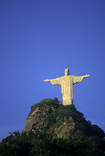 Stock Photo: 1566-340301 Corcovado christ statue, Rio de Janeiro, Brazil.