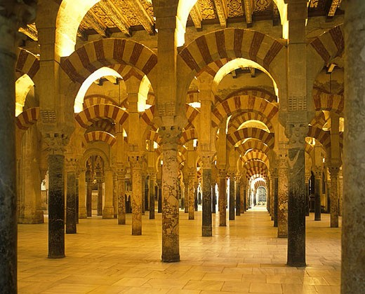 Stock Photo: 1566-340495 Arches, Mosque of the caliphs, Cordoba, Andalusia, Spain.