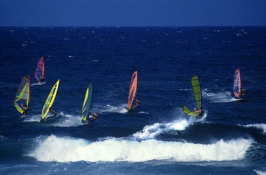 Windsurfing, Hookipa, Maui, Hawaii, USA. : Stock Photo