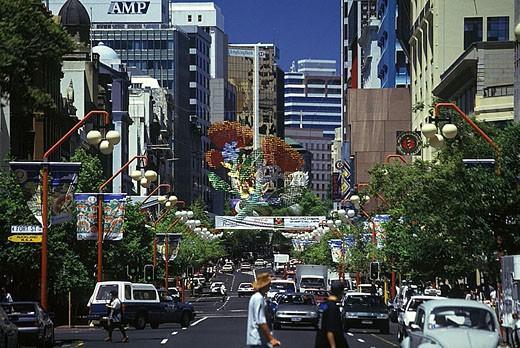 Stock Photo: 1566-341440 Christmas decorations, Queen Street, Auckland, New zealand.