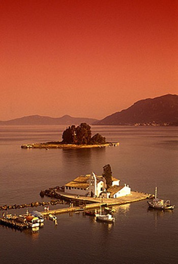 Stock Photo: 1566-341991 Vlacherna monastery & pondikonissi, Kanoni, Corfu coastline, Greece.