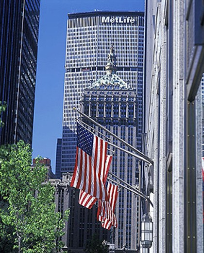 Stock Photo: 1566-342459 American / u.s. flags, Street scene, Park Avenue, Manhattan, New York, USA.