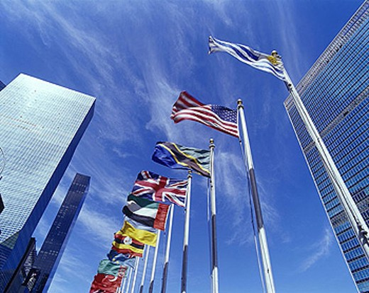 Stock Photo: 1566-343421 United nations building, Mid-town, Manhattan, New York, USA.