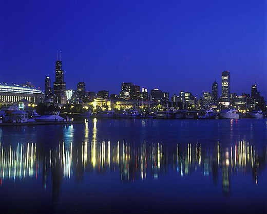 Lakeshore skyline, Burnham park harbor, Chicago, Illinois, USA. : Stock Photo