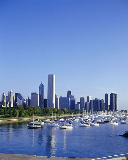 Lakeshore skyline, Chicago, Illinois, USA. : Stock Photo