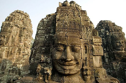 Khmer architecture. Barroque peak. The Bayon temple (12th/13th Century). Angkor Thom. Cambodia. : Stock Photo