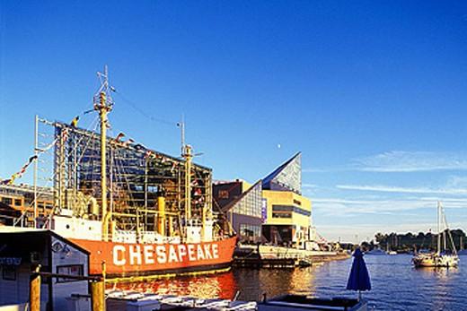 Stock Photo: 1566-344663 Maritime museum, inner harbour skyline, Baltimore, Maryland, USA.
