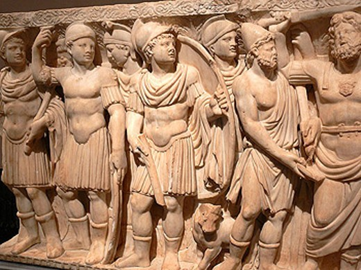 Roman sarcophagus (3rd century AD) depicting the history of Achilles and Polyxena in Prado Museum, Madrid. Spain : Stock Photo