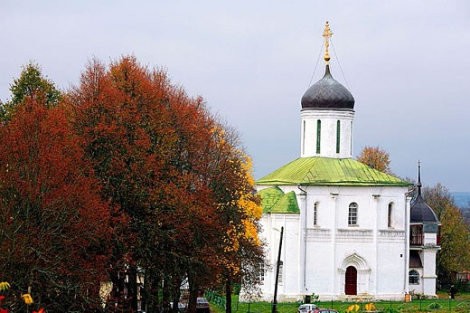 "Cathedral of the Dormition of Our Lady ""na Gorodke"" (1400), Zvenigorod, Golden Ring, Moscow region, Russia : Stock Photo"