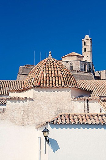 Stock Photo: 1566-345931 Santo Domingo Church with cathedral in background. Ibiza, Balearic Islands. Spain