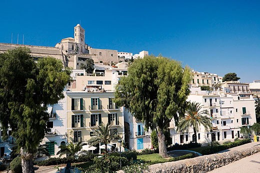 Stock Photo: 1566-345935 Old town (Dalt Vila) with cathedral in background. Ibiza, Balearic Islands. Spain