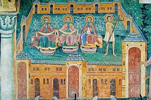 Stock Photo: 1566-346040 Frescos of Zahari Zograf, 1840. Church of St. Virgin. XVIth century. Monastery. Trojan. Bulgaria.