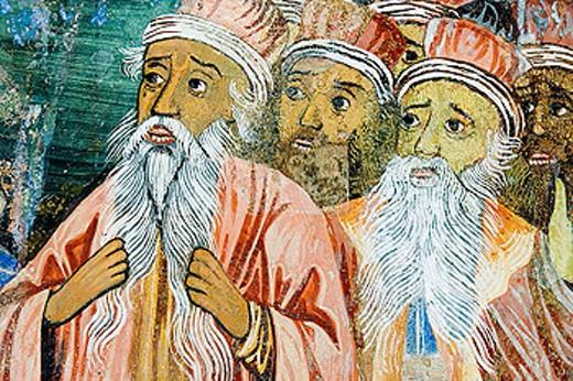 Stock Photo: 1566-346056 Frescos of Zahari Zograf, 1840. Church of St. Virgin. XVIth century. Monastery. Trojan. Bulgaria.