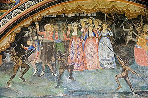 Frescos of Zahari Zograf, 1840. Church of St. Virgin. XVIth century. Monastery. Trojan. Bulgaria. : Stock Photo