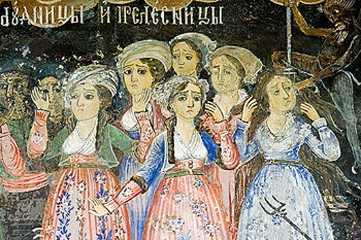 Stock Photo: 1566-346065 Frescos of Zahari Zograf, 1840. Church of St. Virgin. XVIth century. Monastery. Trojan. Bulgaria.