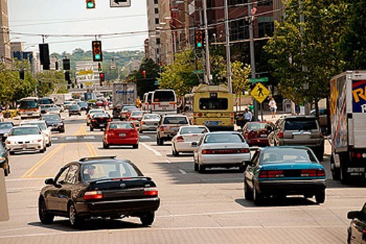 Stock Photo: 1566-346228 Downtown street activity in the city of  Dayton. Ohio, USA