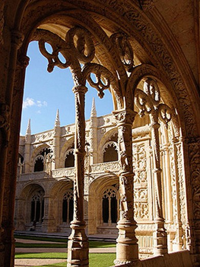 Cloister of Monastery of the Hieronymites. Belem. Lisbon. Portugal : Stock Photo