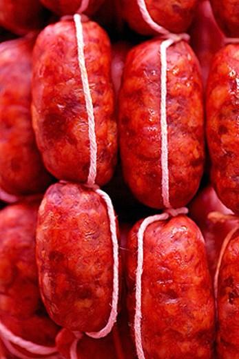 Sausages. Mercado de la Boquería. Barcelona. Spain. : Stock Photo