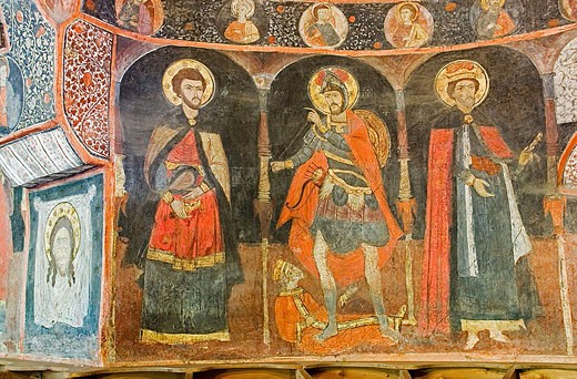 Stock Photo: 1566-346542 The church of St. Archangels Michael and Gavrail, XVIth century, frescos. Arbanassi. Bulgaria.