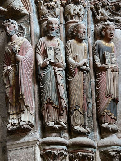 Apostles on the cathedral Door of Paradise, Ourense. Galicia, Spain : Stock Photo