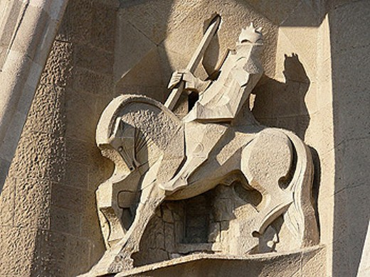 Sculptures by Josep Maria Subirachs at the Passion facade of the Sagrada Familia Temple by Gaudí, Barcelona. Catalonia, Spain : Stock Photo