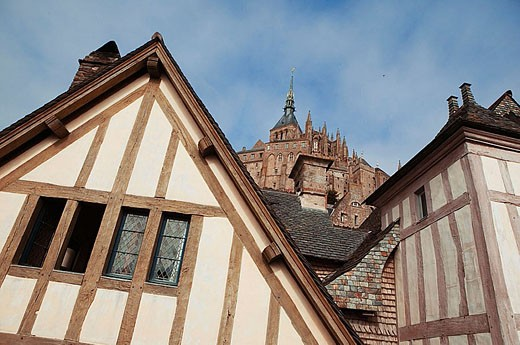 Mont Saint Michel and typical timbered houses. Normandy. France : Stock Photo
