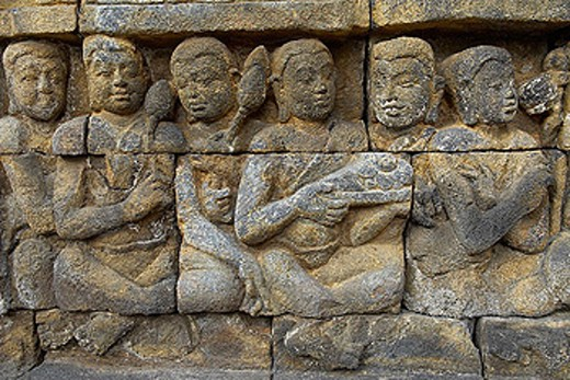 Stock Photo: 1566-350380 Borobudur Buddhist stupa. The Borobudur stupa dates to the ninth century A.D. UNESCO world heritage. Around 1460 relief sculpture. Java island. Indonesia.