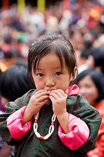 Bhutan. Thimpu. Bhutanese girl. : Stock Photo