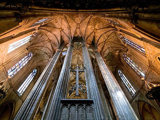 Gothic. Ceiling. The Cathedral of Barcelona. Spain. : Stock Photo