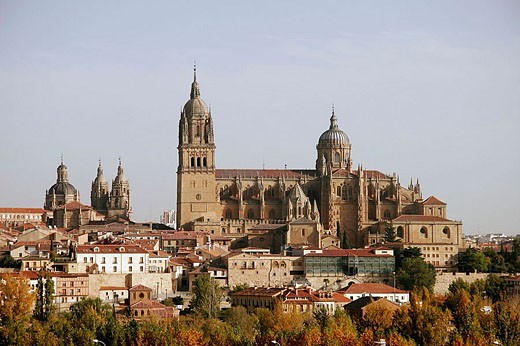 Stock Photo: 1566-353922 View of old and new cathedrals, Salamanca. Castilla-León, Spain