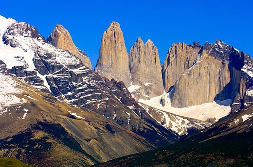 The Towers of Paine (gigantic granite monoliths), Torres del Paine National Park, Patagonia, Chile : Stock Photo