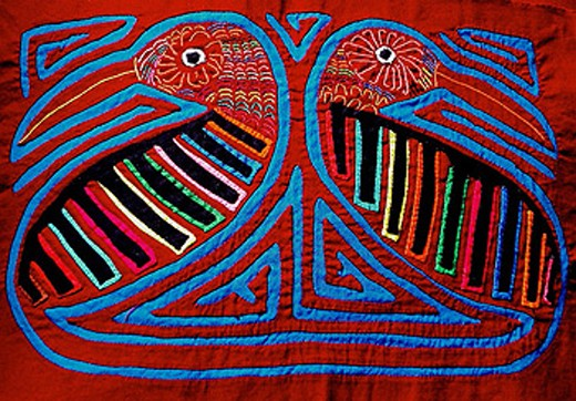 Stock Photo: 1566-354182 Mola, textile art by the Kuna people. Kuna Yala, San Blas, Panama