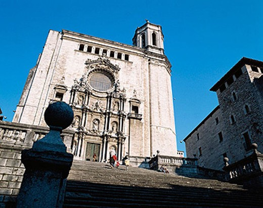 Baroque facade of the Gothic cathedral. Girona. Spain : Stock Photo