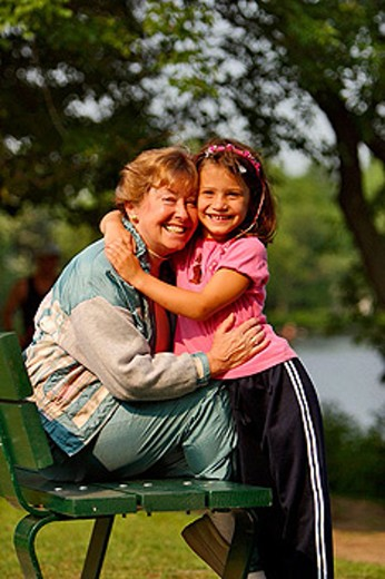 Stock Photo: 1566-354590 Grandmother with her granddaughter.