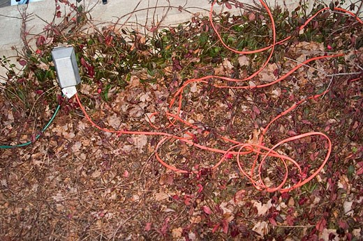 Red extension cord. : Stock Photo