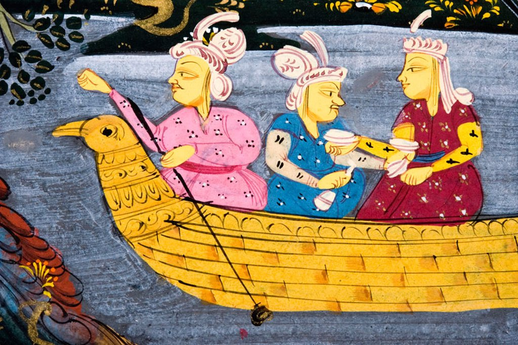 Stock Photo: 1566-355957 Detail from painting from 17th century Persian manuscript  Men and woman in boat on river or lake  Man fishing from boat