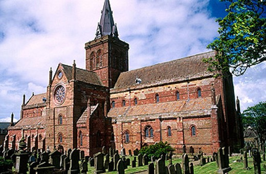 Saint Magnus cathedral. Town of Kirkwall, Mainland. Orkney Islands. Scotland. United Kingdom : Stock Photo