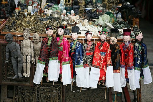 Chinese puppets in a market. Yangshuo. China. : Stock Photo
