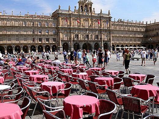 Plaza Mayor. Cafe. Salamanca. Castilla-León, Spain : Stock Photo