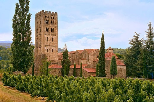 Benedictine abbey of Saint-Michel de Cuxa. Prades. Pyrenees-Orientales, Languedoc Roussillon. France : Stock Photo