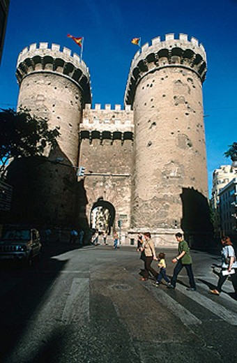 Torres de Quart, part of the old city walls built in the 14th century, Valencia. Comunidad Valenciana, Spain : Stock Photo
