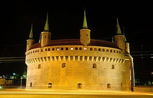 Stock Photo: 1566-357735 Barbican at night. Krakow. Poland.