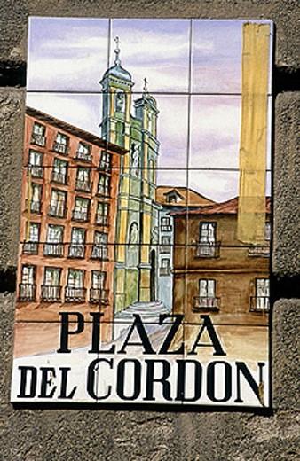 ´Plaza del Cordon´sign. Madrid. Spain. : Stock Photo
